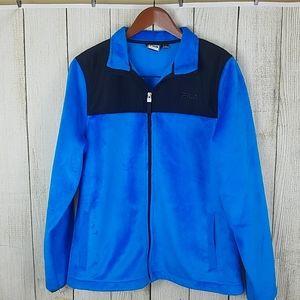 Fila sport zip up fleece jacket blue black